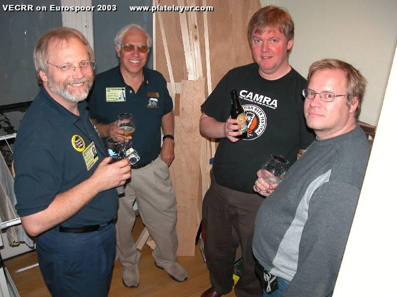 The author under cover, Terry Sutfin, Arjen Gerstel and Kari  Tanskanen enjoy a joke at Svein-Martin Holt's expense. Photo courtesy  Svein-Martin Holt).