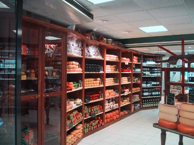 The local convenience store in Amsterdam offers cheeses galore, wine and lots of baked goods.